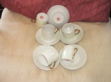 5 X VINTAGE ORIENTAL SMALL COFFEE CUPS & SAUCERS PALE LEMON LUSTRE